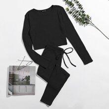 Schlafanzug Set Strick Crop Top & Hose mit Knoten auf Taille