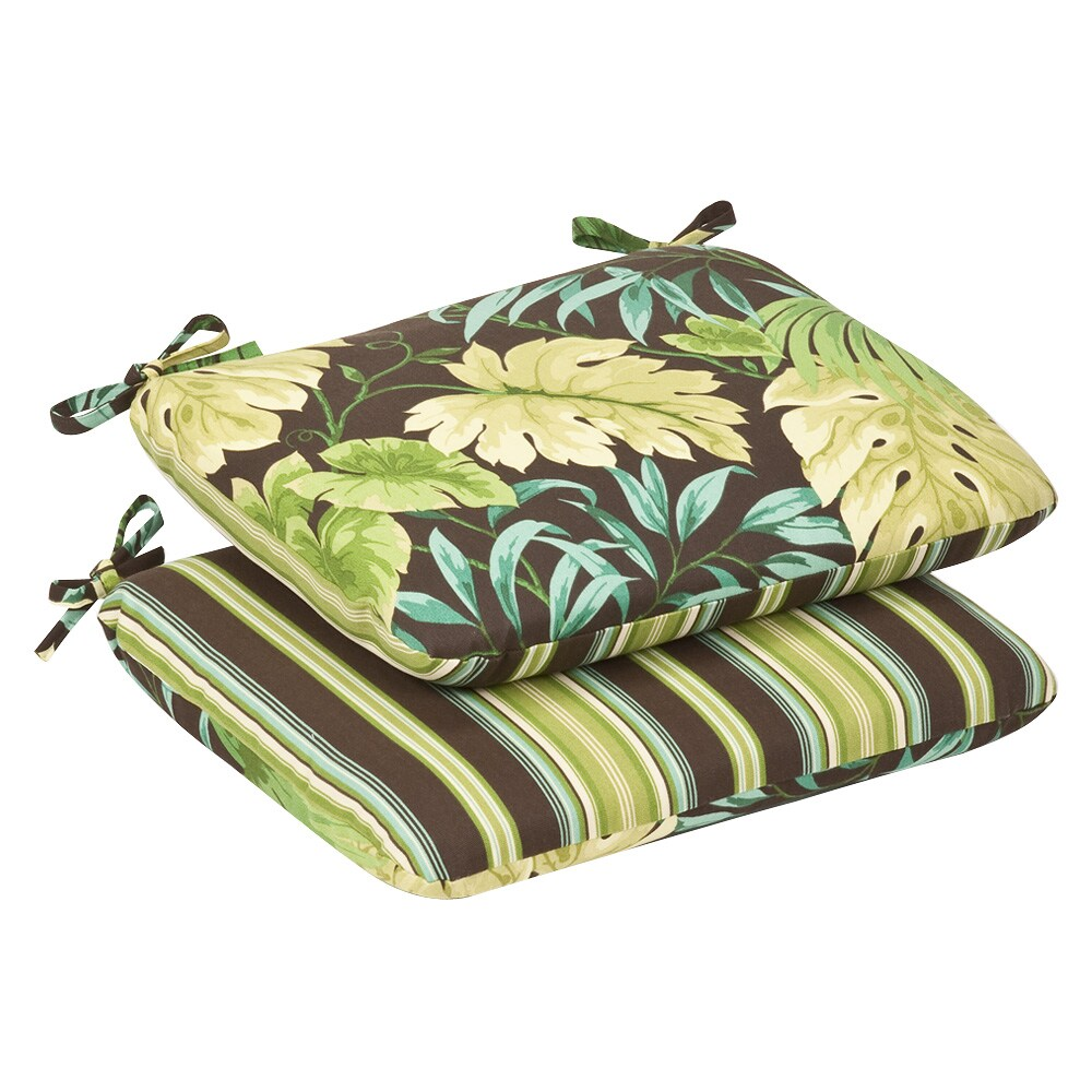 Pillow Perfect Outdoor Green/Brown Tropical/ Striped Rounded Reversible Seat Cushions (Set of 2) (353487)