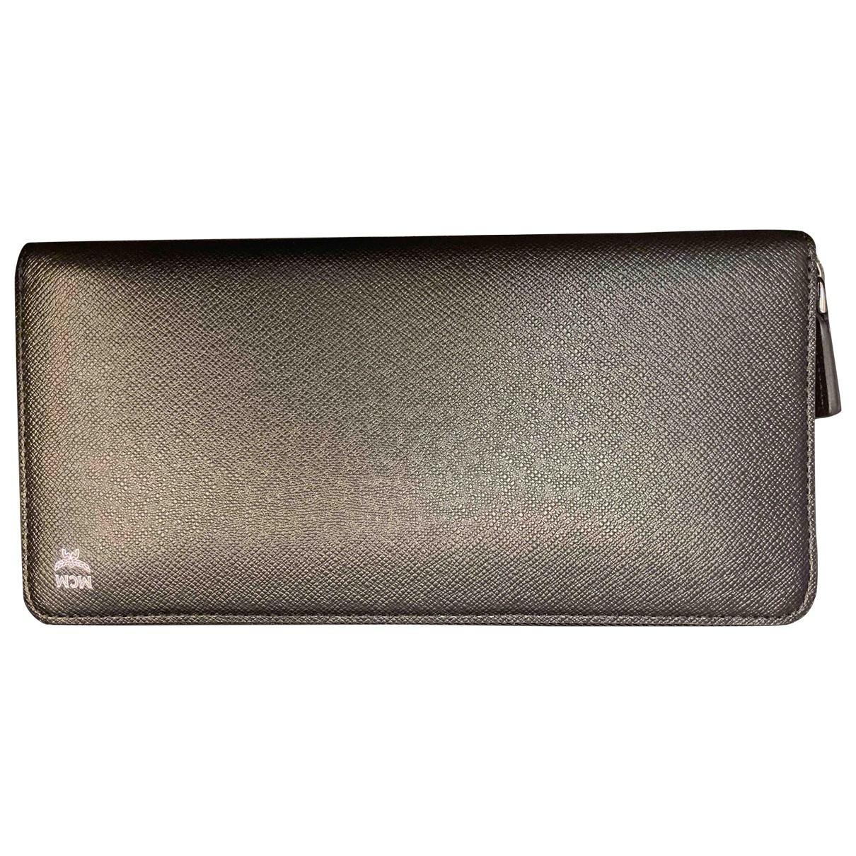 Mcm - Portefeuille   pour femme en cuir - noir
