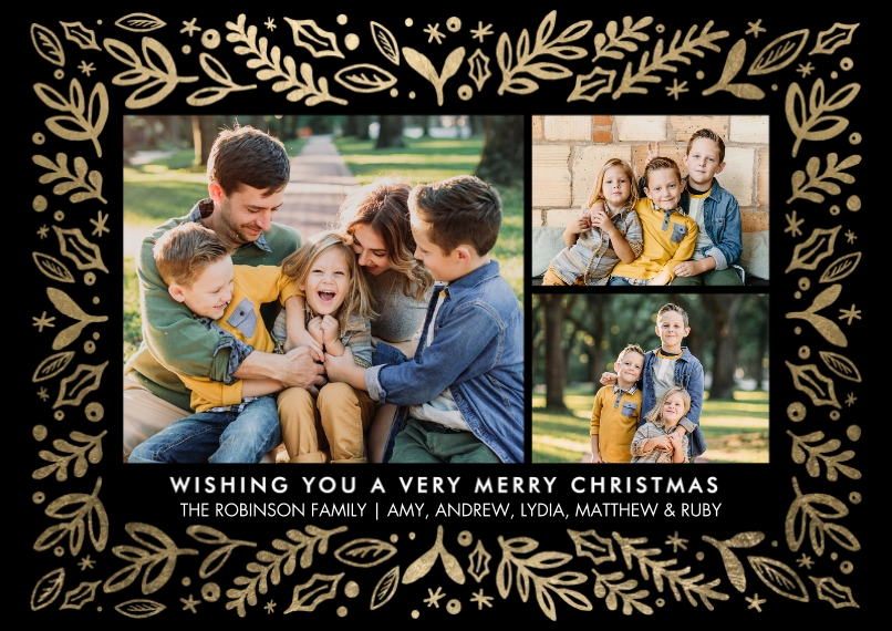 Christmas Photo Cards Flat Glossy Photo Paper Cards with Envelopes, 5x7, Card & Stationery -Christmas Leaves Border by Tumbalina