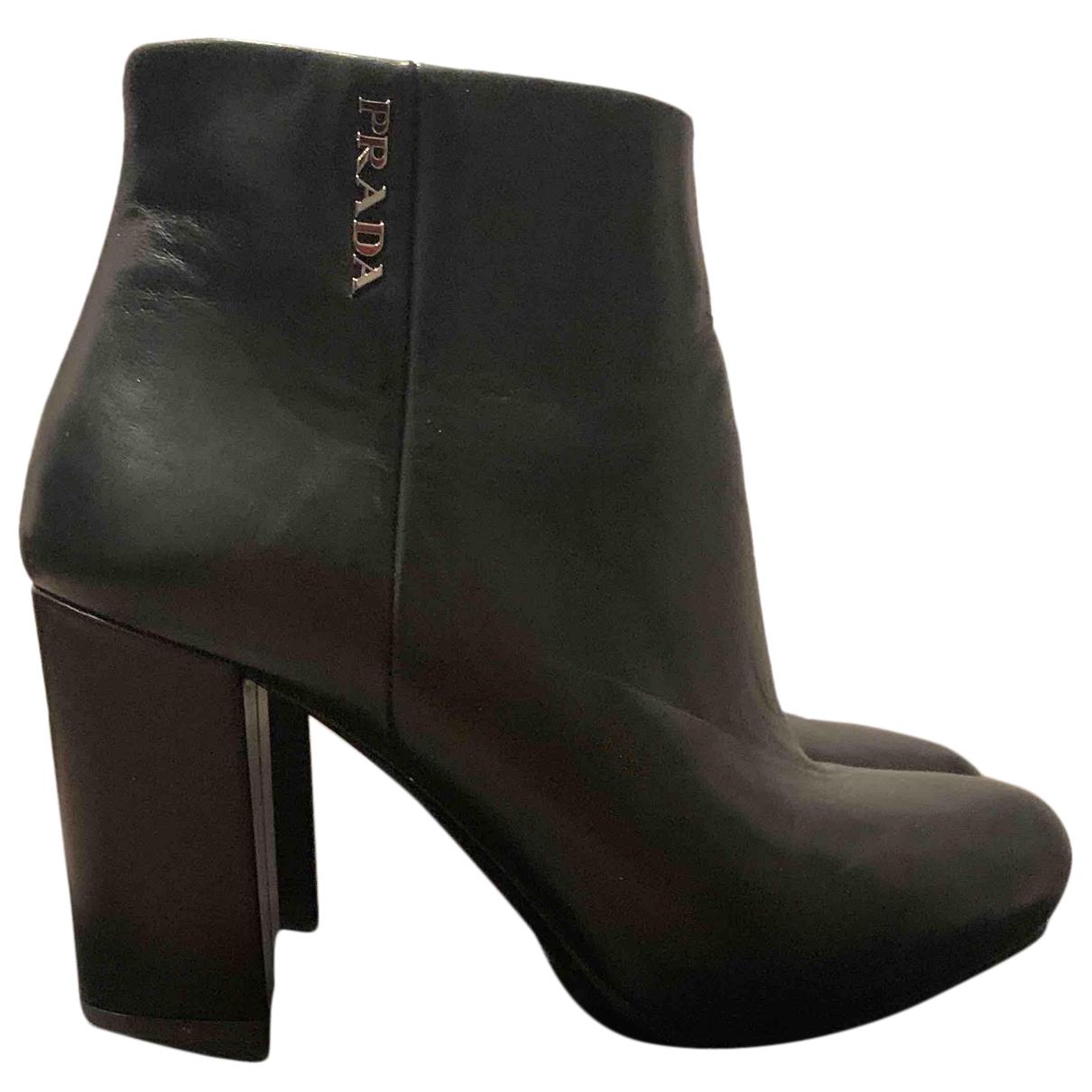 Prada - Boots   pour femme en cuir - noir