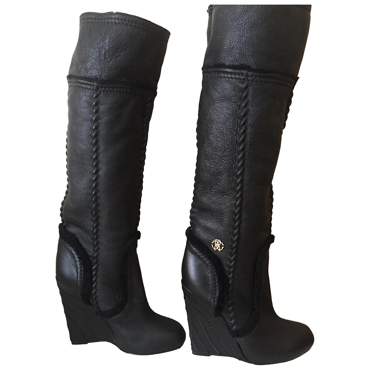 Roberto Cavalli \N Stiefel in  Schwarz Leder