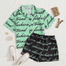 Bluse mit Buchstaben Muster & Shorts Set