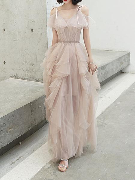Milanoo Evening Dress 2020 V Neck Tulle Floor Length Ruffles Formal Party Dresses