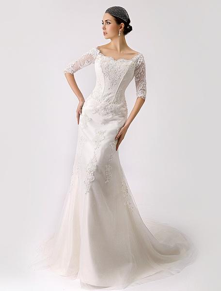 Milanoo Vestido de novia de tul con escote de hombros caidos