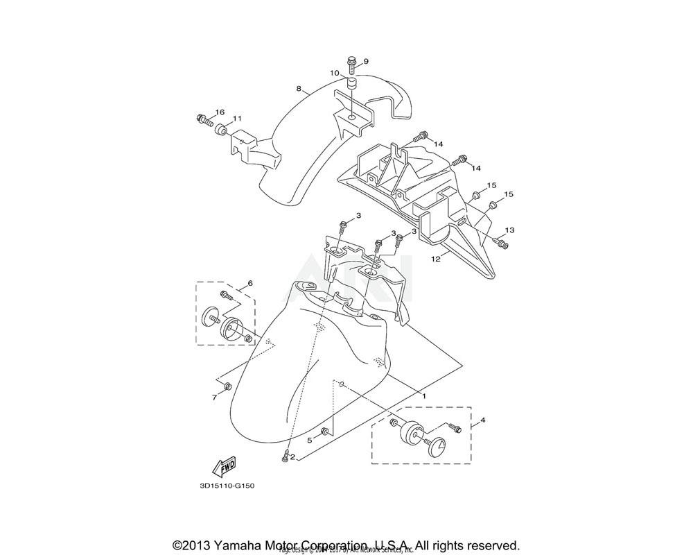 Yamaha OEM 3D1-H5120-00-00 FRONT REFLECTOR ASSY 2