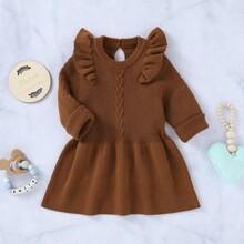 Einfarbiges Pullover Kleid mit Rueschenbesatz