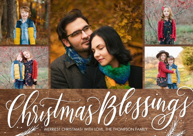 Christmas Photo Cards 5x7 Cards, Premium Cardstock 120lb with Rounded Corners, Card & Stationery -Christmas Script Blessings by Tumbalina