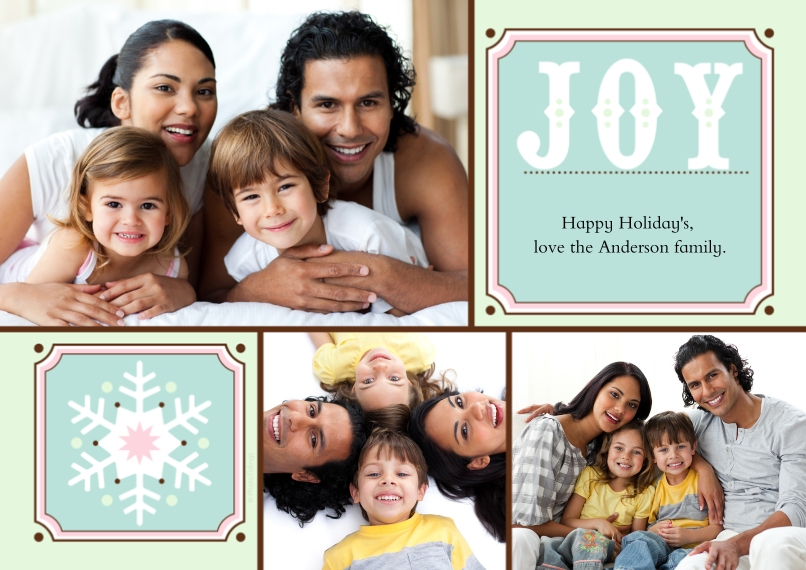 Christmas Photo Cards Flat Glossy Photo Paper Cards with Envelopes, 5x7, Card & Stationery -Joy + Snowflake