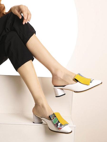 Milanoo Women\'s Mules Clogs PU LeatherSquare Toe Mid Heel Snake Print Shoes Slip-On Mules