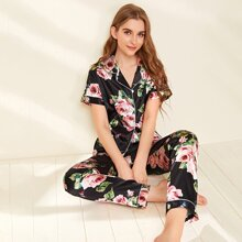 Satin Floral And Butterfly Print PJ Set
