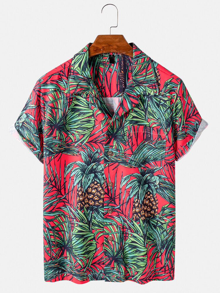 Mens Pineapple Printed Revere Collar Casual Short Sleeve Shirts With Pocket