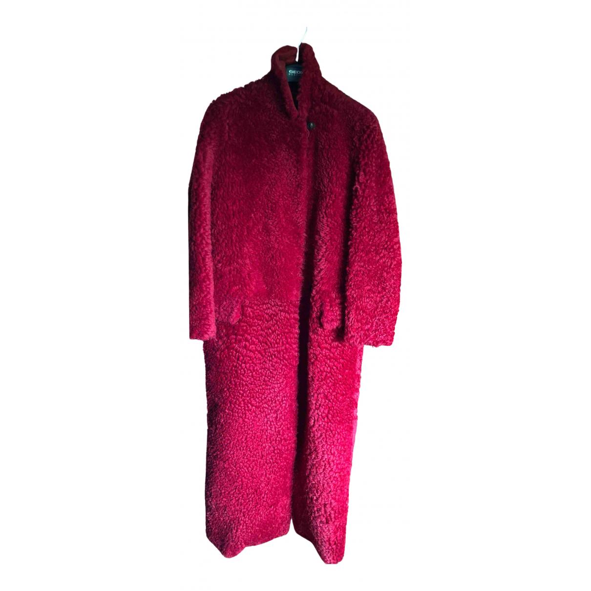 Max Mara - Manteau   pour femme en mouton - rouge