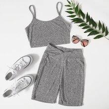 Strick Crop Cami Top & Radhose Set mit Wickel Design auf Taille