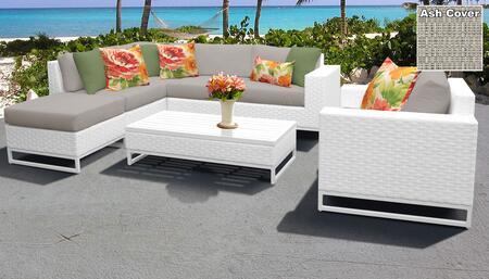 Miami Collection MIAMI-07f-ASH Miami 7-Piece Patio Set 07f with 1 Corner Chair   2 Armless Chair   1 Ottoman   1 Coffee Table   1 Club Chair   1 Left