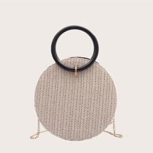 Braided Round Shaped Satchel Bag