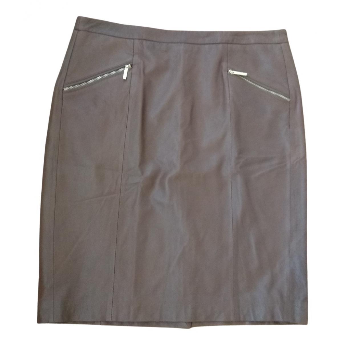 Falda midi de Cuero Michael Kors