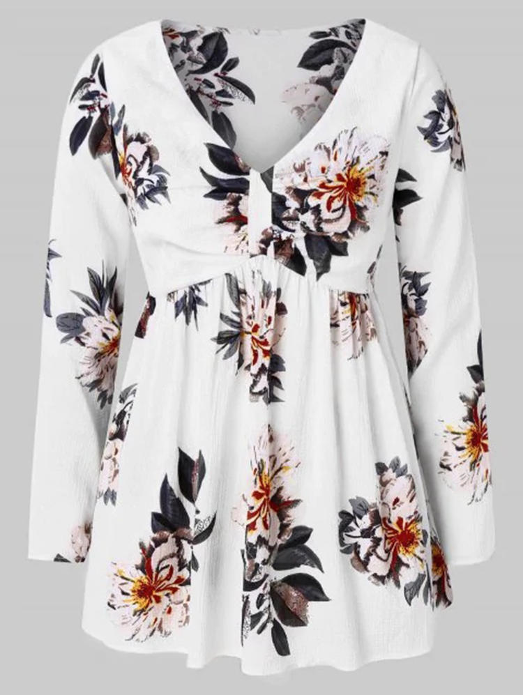 Women Floral Print V-Neck Long Sleeve Blouse