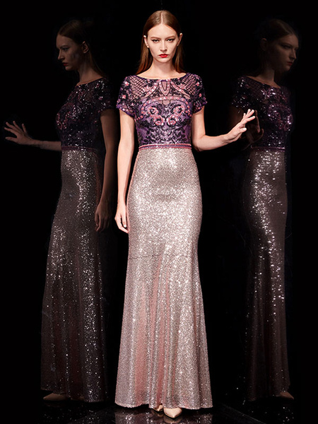 Milanoo Evening Dresses Lace Mermaid Prom Dress Sequin Embroidered Maxi Formal Dress