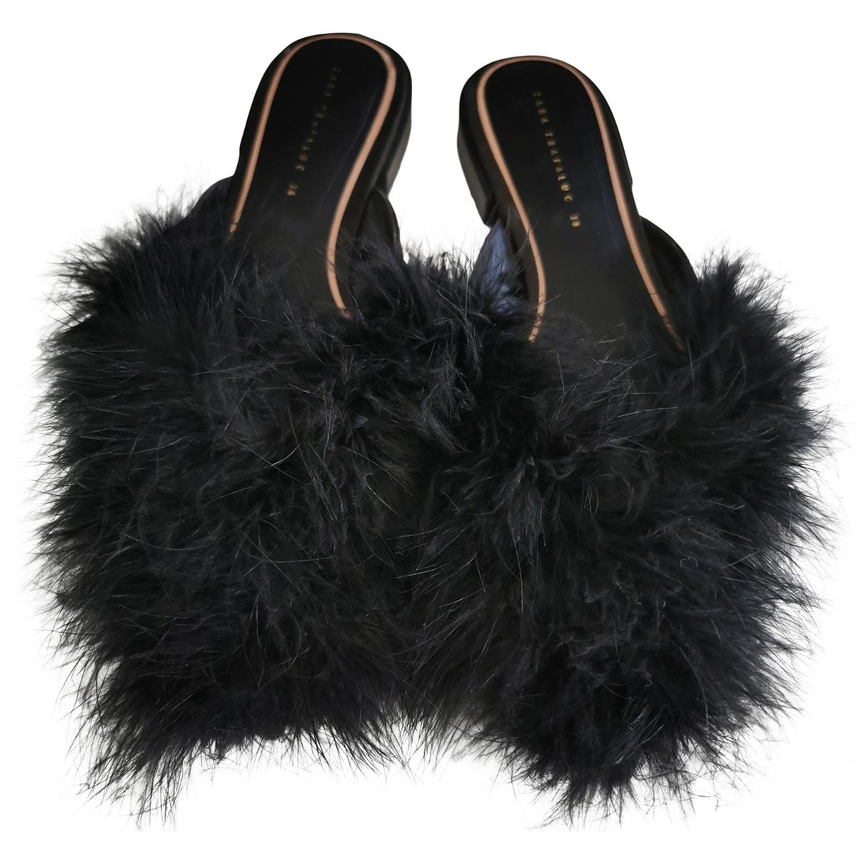Zara \N Black Faux fur Mules & Clogs for Women 38 EU