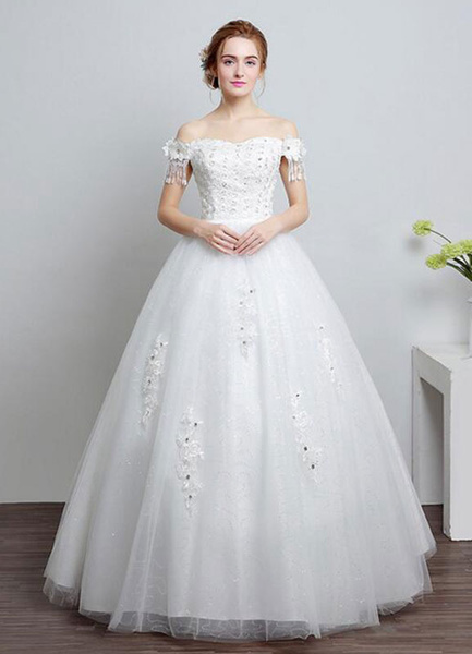 Milanoo Ivory Wedding Dress Off The Shoulder Lace Ball Gown Beaded Floor Length Bridal Dress With Rhinestone