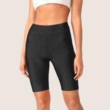 Shorts ciclistas solidos de cintura ancha