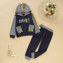 Kleinkind Jungen Hoodie mit Buchstaben Muster und Turnhosen