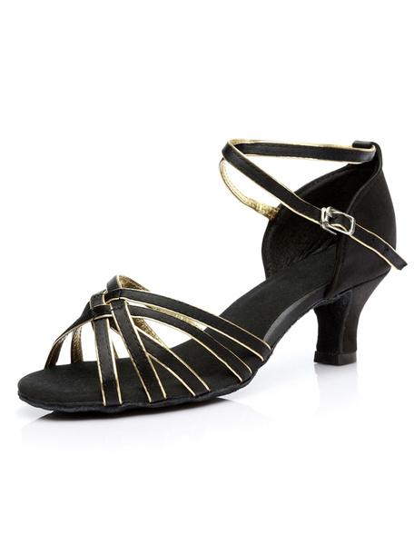 Milanoo Zapatos baile latino Satin Criss Cross Zapatos de salon para mujeres