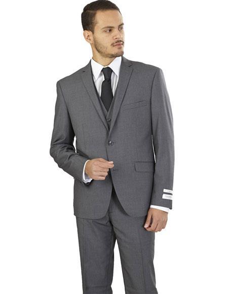 Men's Lorenzo Bruno 3 Piece Single Breasted Gray Slim Fit Suit