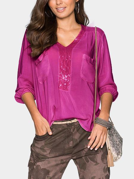 Yoins Rose Paillette Decoration V-neck 3/4 Length Sleeves Blouse