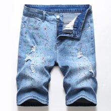 Men Spray Paint Ripped Denim Shorts