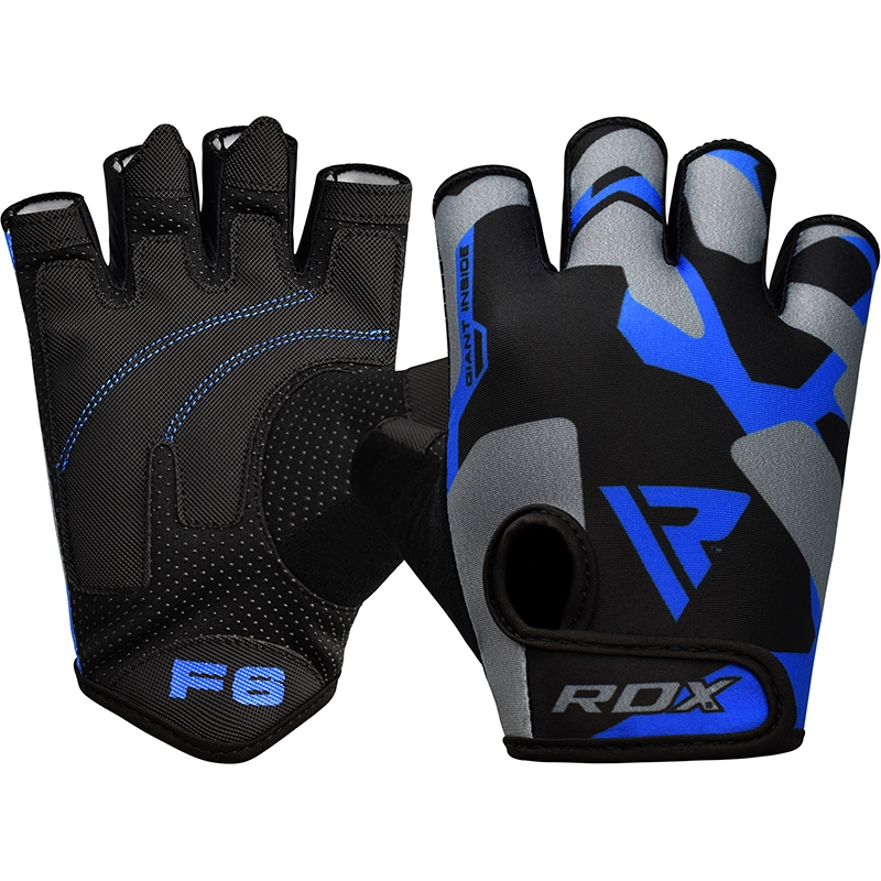 RDX F6 Fitness Workout Gym Gloves in Lycra Small Blue/Grey/Black