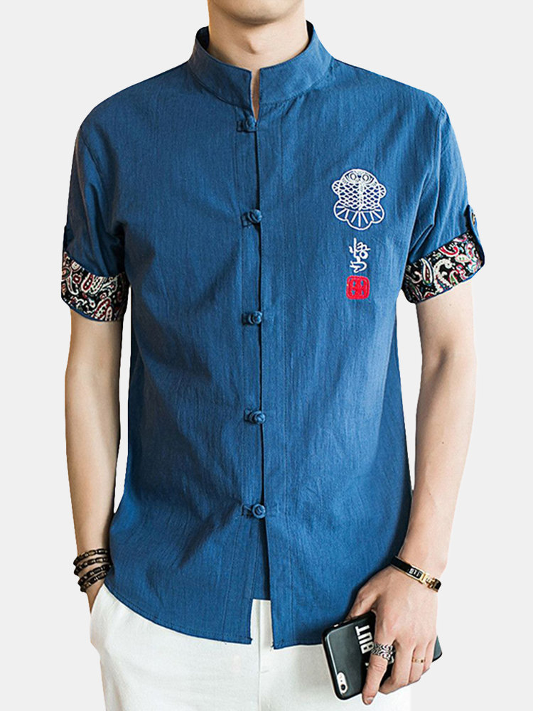 Stand Collar Ethnic Printing Chinese Button Short Sleeves Summer Designer Shirt for Men