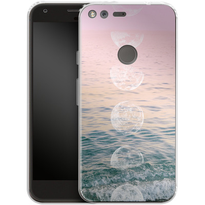 Google Pixel XL Silikon Handyhuelle - Moontime Beach von Emanuela Carratoni