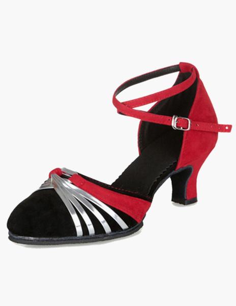 Milanoo Ballroom Dance Shoes Suede Latin Dancing Shoes Black Criss Cross Ballroom Shoes