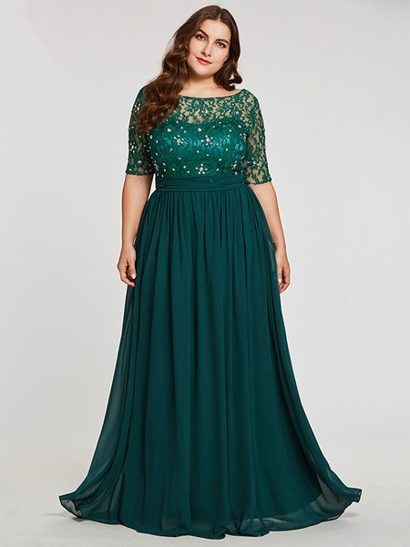Milanoo Evening Dress 2020 A Line Jewel Neck Floor Length Half Sleeves Zipper Lace Chiffon Formal Dinner Dresses