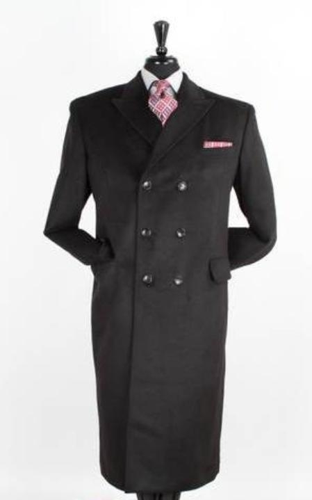 Double Breasted Black 48 Inch Long Wool Blend Polyester Top Coat Mens