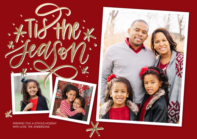 Christmas Photo Cards 5x7 Cards, Premium Cardstock 120lb, Card & Stationery -Christmas Script Tis the Season by Tumbalina