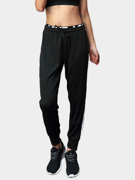 Yoins Active Loose High-waisted Linen Sports Pants in Black