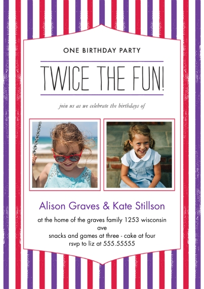 Kids Birthday Party Invites 5x7 Cards, Standard Cardstock 85lb, Card & Stationery -Twice the Fun Joint Girl Striped Bday