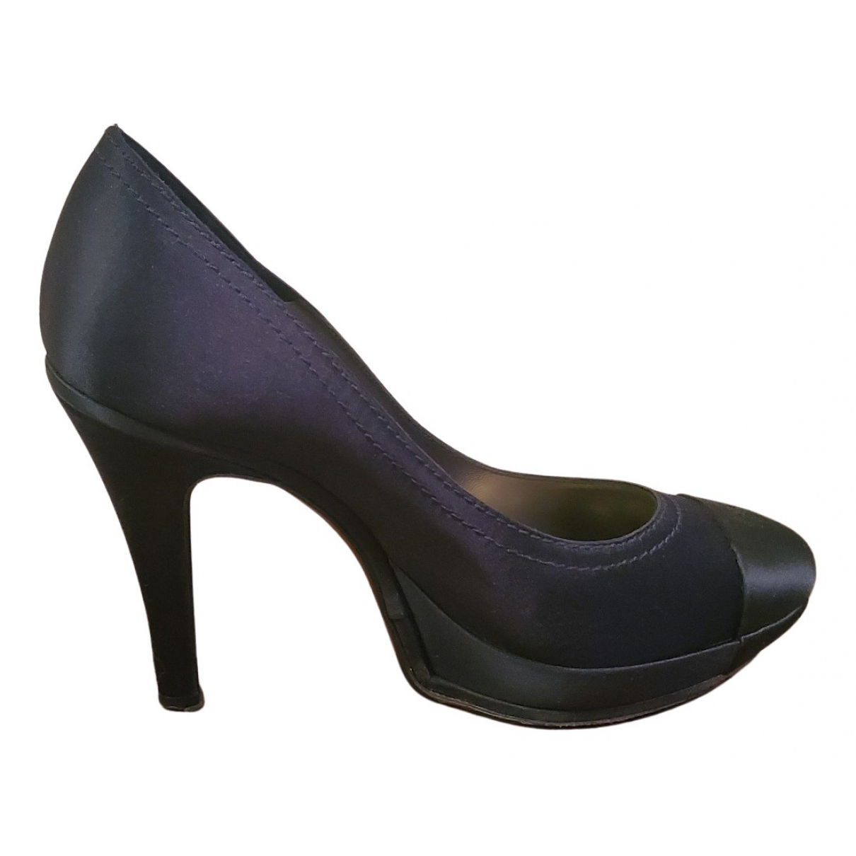 Chanel N Blue Cloth Heels for Women 36.5 IT