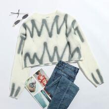 Pullover mit sehr tief angesetzter Schulterpartie und Welle Muster