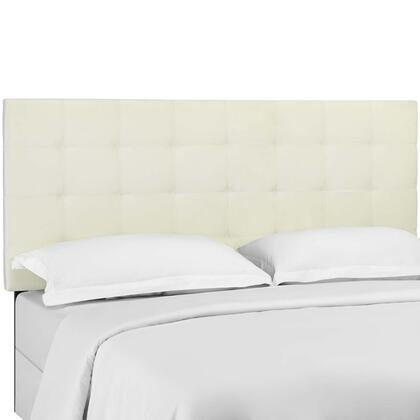 Paisley Collection MOD-5853-IVO Tufted Full / Queen Upholstered Performance Velvet Headboard in Ivory