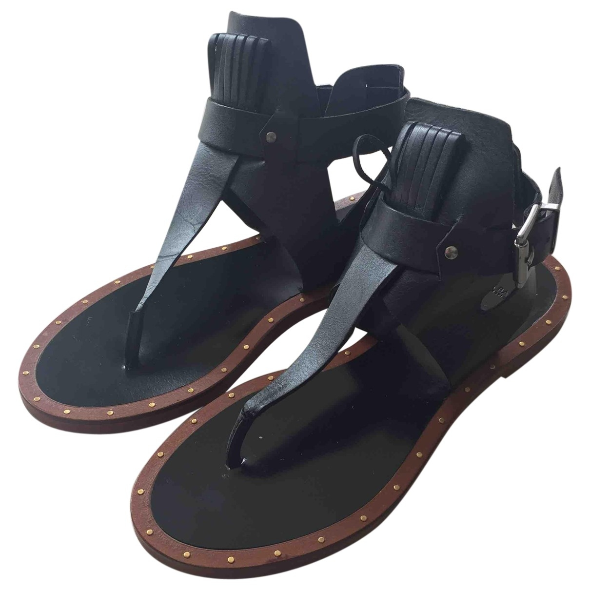 Zara \N Black Leather Sandals for Women 37 EU
