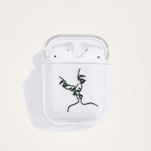 1pc Line Drawing Print AirPods Case