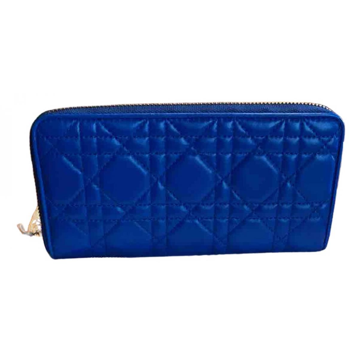 Dior Lady Dior Portemonnaie in  Blau Leder