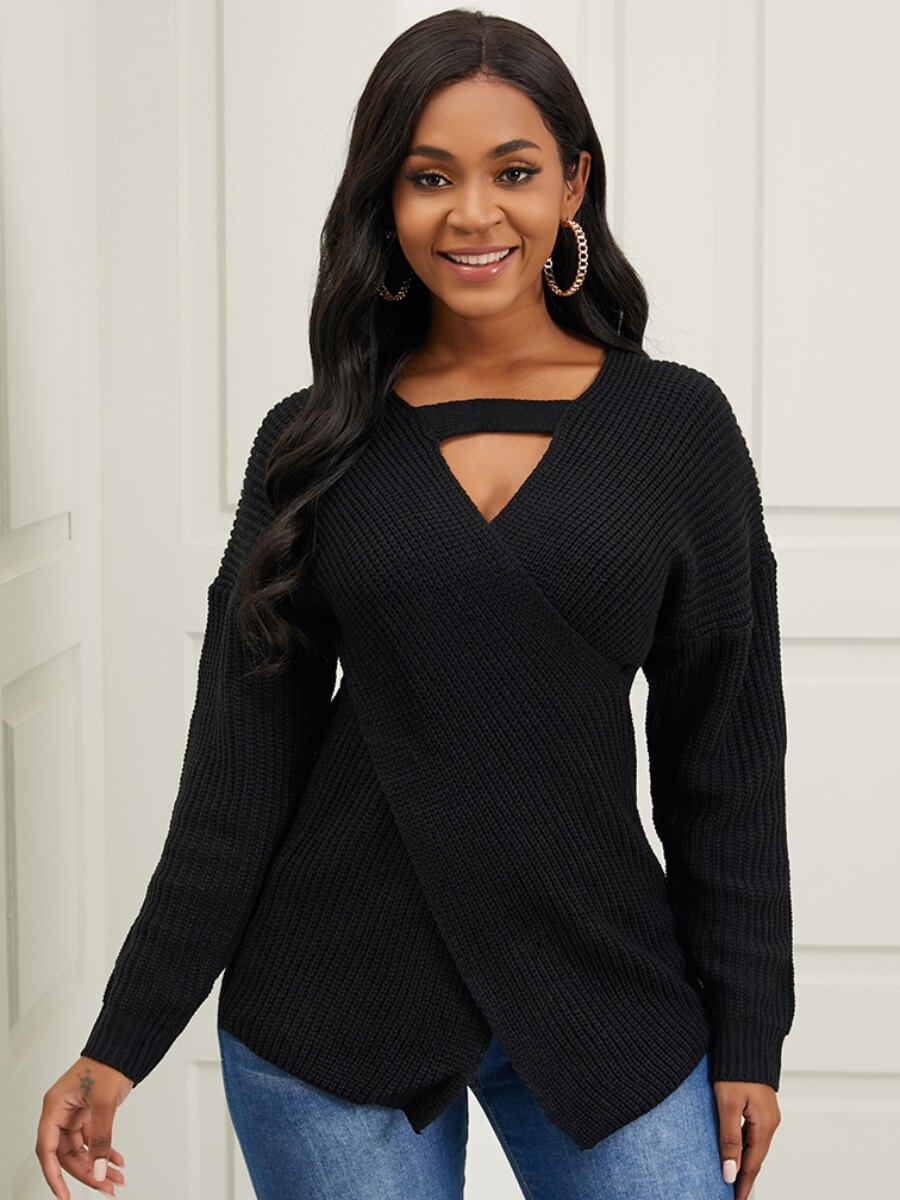 LW Lovely Trendy V Neck Hollow-out Black Sweater
