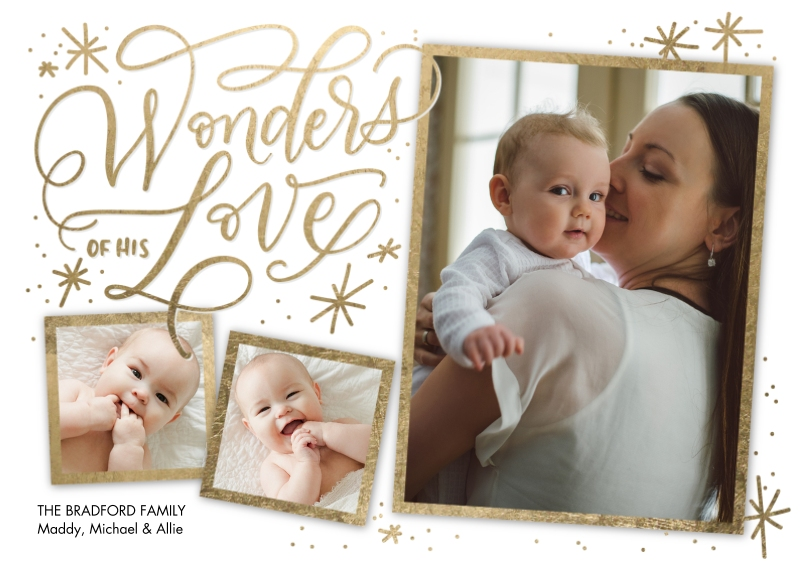 Christmas Photo Cards 5x7 Cards, Premium Cardstock 120lb with Rounded Corners, Card & Stationery -Christmas Wonders of His Love by Tumbalina