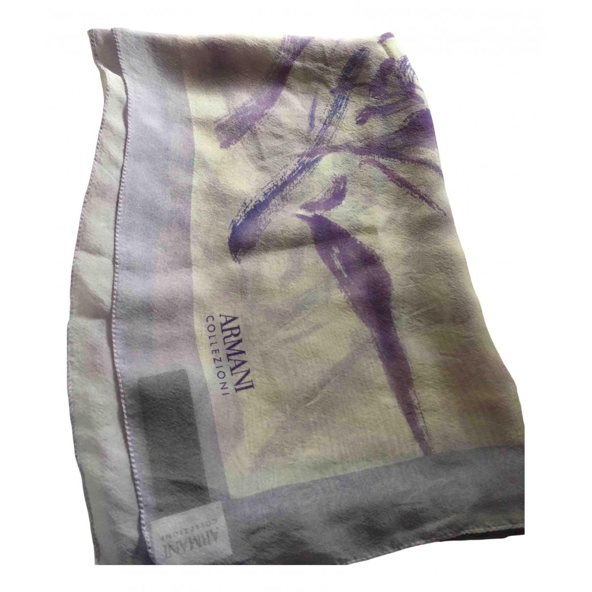 Armani Collezioni - Foulard   pour femme en soie - blanc