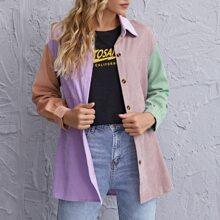 Kord Mantel mit Knopfen vorn und Farbblock